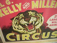 "2nd Largest Wild Animal Circus Poster AL G. Kelly &  Miller Bros TIGER 28""x 22"""