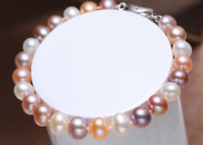 "Gorgeous 10-11mm south sea round multicolor pearl bracelet 7.5-8"" 925s Y3386"