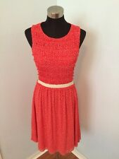 POSTAGE STAMP Anthropologie Dress Orange Ivory Polka Dot Ruffle Bust Lined Sz M