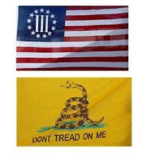 Wholesale Combo Lot 3' X 5' Betsy Ross Nyberg Iii & Gadsden Don't Tread Flag 3X5