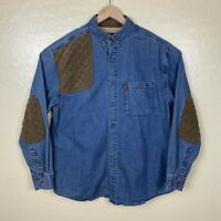 North River Shooing Hunting Shirt Button Up Mens Size Large Denim Blue Padded