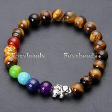 7 Chakra Healing Balance Bracelet Tiger's Eye Elephant PingAn Auspicious Gems 1X