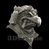 3D Model STL CNC Router Artcam Aspire Angry Eagle Head Pilot Cut3D Vcarve