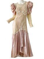 Vintage 80s Victorian Lace Beaded Satin Boho Party Disco Wedding Dress Small