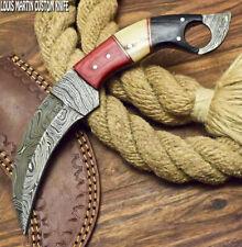 LOUIS MARTIN CUSTOM HANDMADE FIXED BLADE DAMASCUS HUNTER KARAMBIT KNIFE WOOD