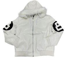 Men's Robert Phillipe White 8 Ball Jacket with Fur Hood