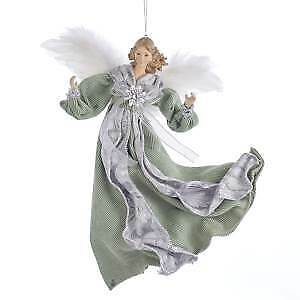 Sage Green and Silver Flying Angel Ornament w