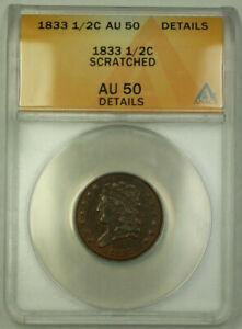 1833 Classic Head Half Cent 1/2c Coin AU-50 Details Scratched GKG
