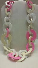 Gorgeous designer 100% pink white Buffalo horn link necklace