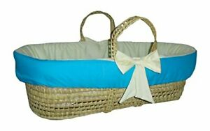 Baby Doll Bedding Reversible Moses Basket Bedding Set Aqua/Yellow