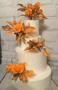 Burnt Orange Gum Paste Wedding/Celebration Cake Topper/Decoration
