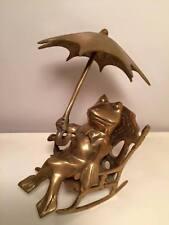 Vintage Brass frog rocking with an umbrella brass figurine