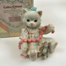 Calico Kittens Good Friend Warms the Heart 627984 White Cat w/ Pink Hearts Mouse