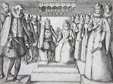 JACQUES CALLOT KUPFERSTICHRADIERUNG ZEREMONIE MARGARETE VON ÖSTERREICH UM 1620