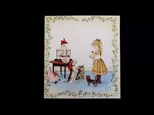 RARE Vintage Tasha Tudor Xmas Greeting Card Girl with Her Doll & Animal Friends