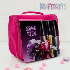 Personalised Nail Varnish Pink Hanging Wash Toiletries Make Up Travel Bag SH172