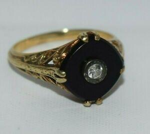 14k Yellow Gold ~ Victorian Black Onyx & Diamond Ring 1.9 ct tw ~ sz 6 ~ 3.09 gm