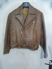 VINTAGE 50s BIG CHIEF FRENCH BRANDO LEATHER MOTORCYCLE JACKET SIZE L ECLAIR CHIC