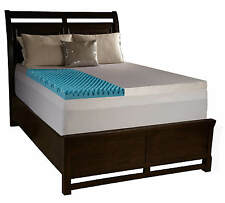 """4"""" Full Egg Crate Foam Mattress Topper Gel Infused Memory Bed Pad With Cover"""