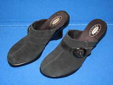 7.5 Dr Scholl's Original PRIMID Black Suede Leather Ladies Women Shoes Mule Heel