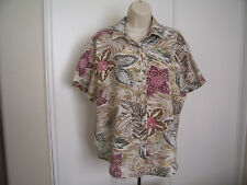 Vintage CASCADE BLUES Pink Womens Size L Hawaiian Aloha Shirt Tropical Floral