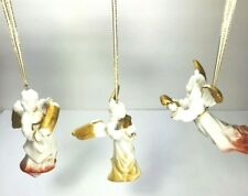 3 Villeroy & Boch Christmas Angels Ornaments White Gold Concertina Harp Flying