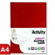 Premier Art + Craft A4 250gsm Sparkle Glitter Card - Red - 10 Sheet Pk