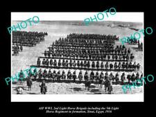 OLD 8x6 HISTORIC PHOTO OF WWI ANZAC 2nd & 5th LIGHT HORSE IN EGYPT c1916