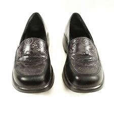Dansko Mandolin Black Leather Embossed Floral Loafers Clogs Womens 37 (6.5 to 7)