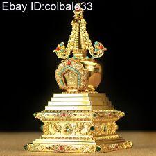 H17cm Alloy Bodhi Stupa Dagoba Tibetan Vajrayana Buddhism worship Lucky Artifact