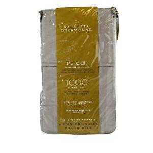 Wamsutta Dream Zone Standard/Queen Pillowcases 1000 TC  Grey Stripe Set of 2