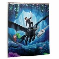 How to Train Your Dragon Waterproof Shower Curtain Bath Wall Hanging Decor Hooks