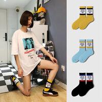 Harajuku Letter English Print Funny Socks Women Streetwear Unisex Striped Socks