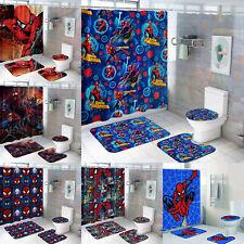 Spiderman Bathroom Rugs Set Shower Curtain Non-Slip Toilet Lid Cover W/12 Hooks