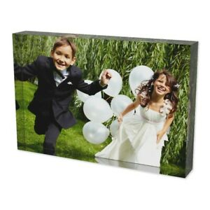 """Personalised Printed Acrylic Photo Block Picture Frame Display Stand Gift 4""""X6"""""""