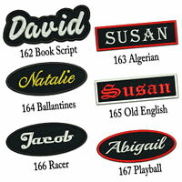 "Custom Embroidered Name Patch 4""-5"" Iron on Name / Tag Rectangular Oval Freehand"