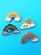 Enamel Pin Badges - Set of 4 - Rainbows with Clouds - EB0024