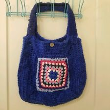 Blue Crocheted Granny Square Purse Tote Bag FIVE POCKETS Wide Straps Weekender