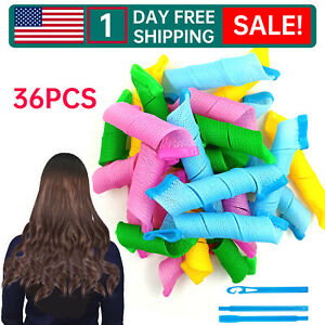 NEW 36PCS Hair Curlers Wave Formers No Heat Magic Hair Rollers Styling Kit SET D