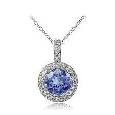 Sterling Silver .075ct Tanzanite & White Topaz Round Drop Necklace