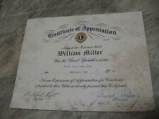 Rare 1968 Lions Speaker Certificate of Appreciation - Football Star Bill Miller