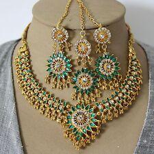 Schmuckset Collier Ohrringe Tikka Gold Grün Bollywood Party Brautschmuck Indien