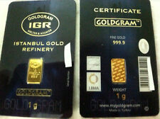 10 x 1 gram 24K 999 GOLD BULLION BAR LMBA CERTIFIED