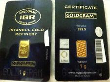1 gram 24K 999 GOLD BULLION BAR LMBA CERTIFIED