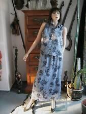 Rock Bluse Kostüm Gr. 40 blau hellblau Traumteil blaue Rosen  Crincle Stoff