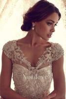 Beading Lace Wraps Wedding Jackets Cap Sleeves Bridal Bolero Shrug Custom Made