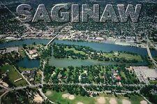 Saginaw Michigan, Hoyt Park & Ojibway Island, River, Aerial View, MI -- Postcard