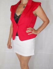 Women Red Jacket Gillet Sleeveless Stretch One Button Cotton Red Herring Size 16