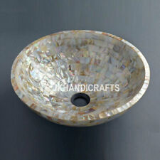 """15"""" White Mother Of Pearl Wash Basin/Sink with Living Room Decor Gifts"""