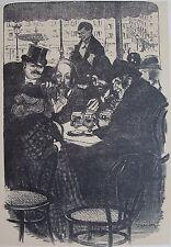 STEINLEN (1859-1923) : Nichonette. Illustration originale  chansons Montmartre